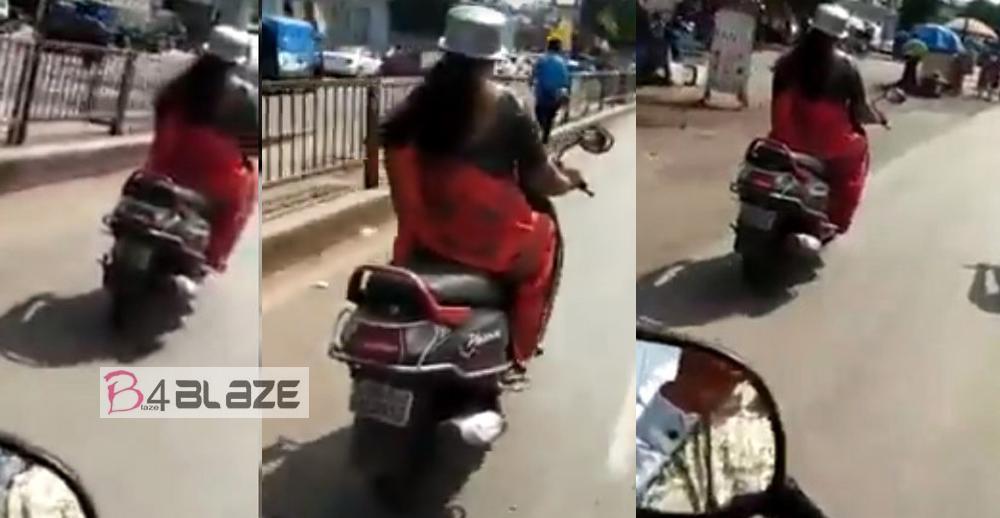 Women using aluminium pan in head