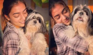 Nazriya photo with pet