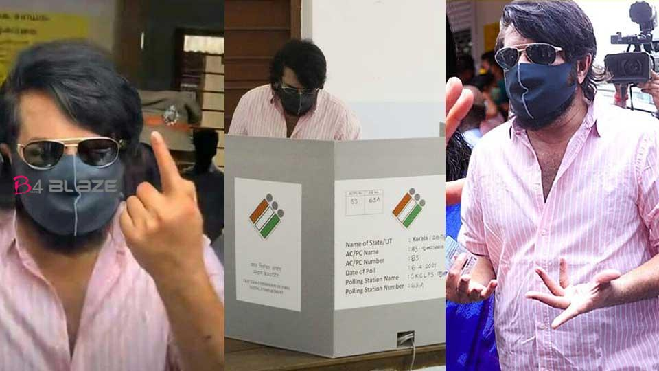mamootty in polling booth